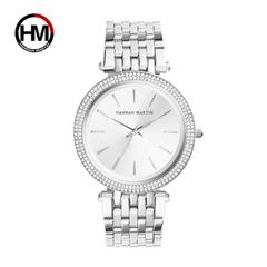 HANNAH MARTIN Elegant Double Row Diamond Delicate Ladies Watch-Silver (HM-1185)