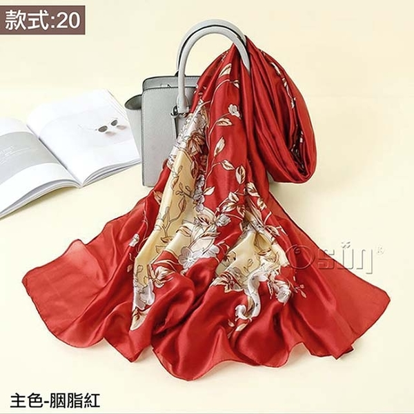 (Osun)【Osun】Autumn and winter high-end gifts imitation silkworm silk satin texture silk scarf European and American printed beach shawl scarf (style: