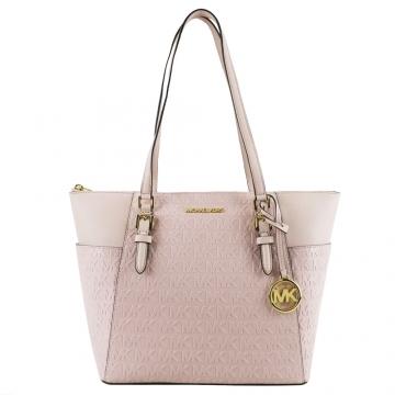 (MICHAEL KORS)MICHAEL KORS CHARLOTTE Full Version Embossed Double Side Pocket Tote Bag-Large/Pink
