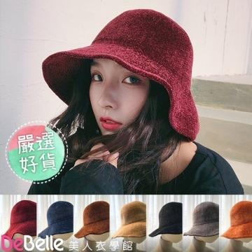 """""""DeBelle Beauty Clothing School"""" ฤดูใบไม้ร่วงและฤดูหนาวเก็บความร้อนหนังกลับโดมหมวกอ่างถักหนาพับได้"""