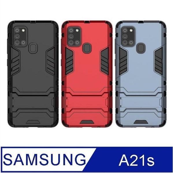 SAMSUNG Galaxy A21s Iron Man Armor Bracket Storage Shockproof Phone Case Protective Shell (Black)