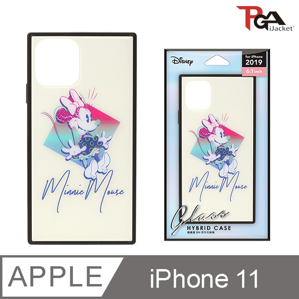 【日本 PGA】iPhone 11 6.1吋 迪士尼 四角氣墊 9H玻璃殼-米妮