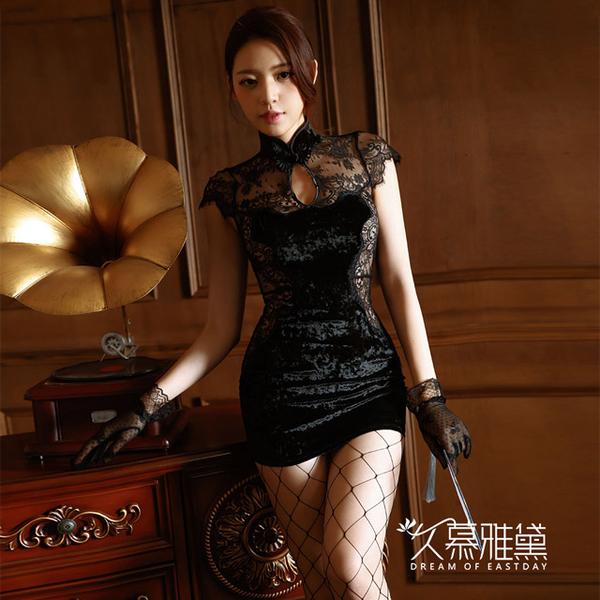 (dream of eastday)Jumu Yadai Lace Golden Velvet Gorgeous Sexy Cheongsam