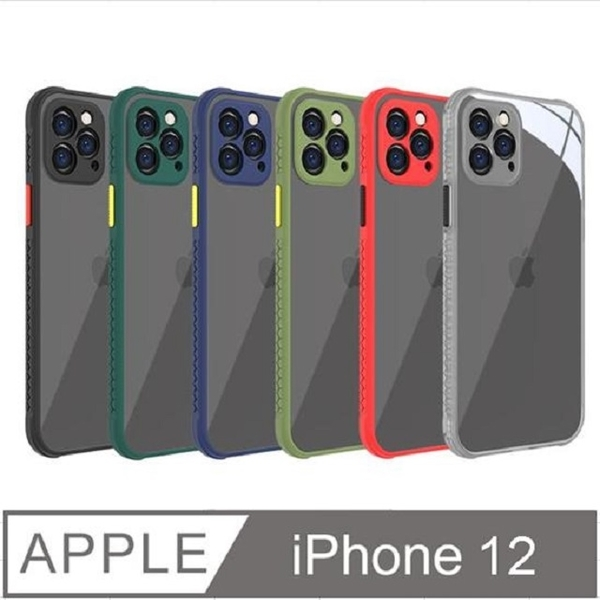 iPhone 12 high transparent PC hard back panel + embossed TPU soft rubber frame mobile phone case protective cover (embossed blue frame)