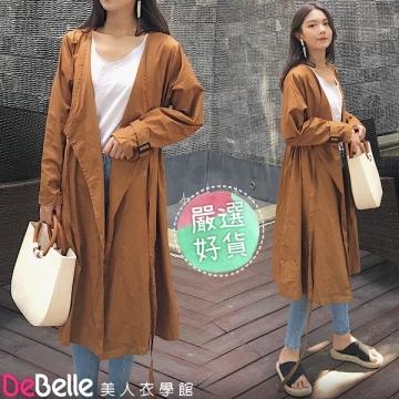 """DeBelle beauty clothing school"" spring retro large V-neck buckleless drawstring waist pocket long windbreaker jacket"