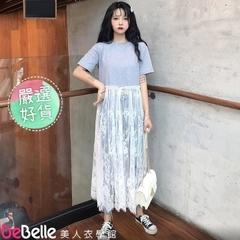 """DeBelle Beauty School"" สาวเกาหลีปลอมสองชิ้นกระโปรงลูกไม้อารมณ์แขนสั้นชุดเสื้อยืด"