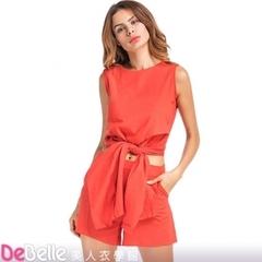 """DeBelle Beauty School"" Set-Pure Color Strapless Cotton Linen Sleeveless Top + Shorts"