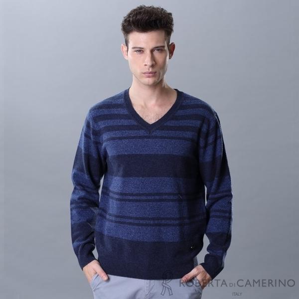 ROBERTA Nobelda Taiwan-made V-neck Striped Merino Cardigan HSF04-37 Dark Blue