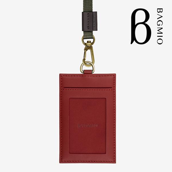 (BAGMIO)BAGMIO authentic cowhide 3 card ID set-wine red (with webbing)