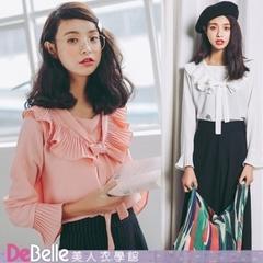 """DeBelle Beauty School"" เสื้อคอปาดผ้าคอตตอนและลินินย้อนยุคจับจีบผ้าคอตตอนและผ้าลินิน"