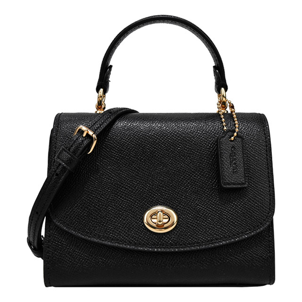(coach)COACH New TILLY Turn Buckle Scratch Resistant Leather Portable/Crossback Dual-use Bag (Mini/Black)