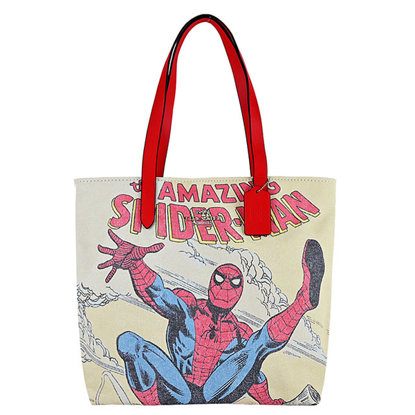 (coach)COACH MARVEL Co-branded Spider-Man Comic Style Tote Bag (Red x White)