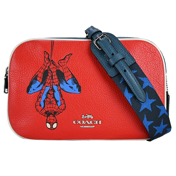 (coach)COACH MARVEL Co-branded Spider-Man Star Strap Double Zipper Crossbody Camera Bag (Red)