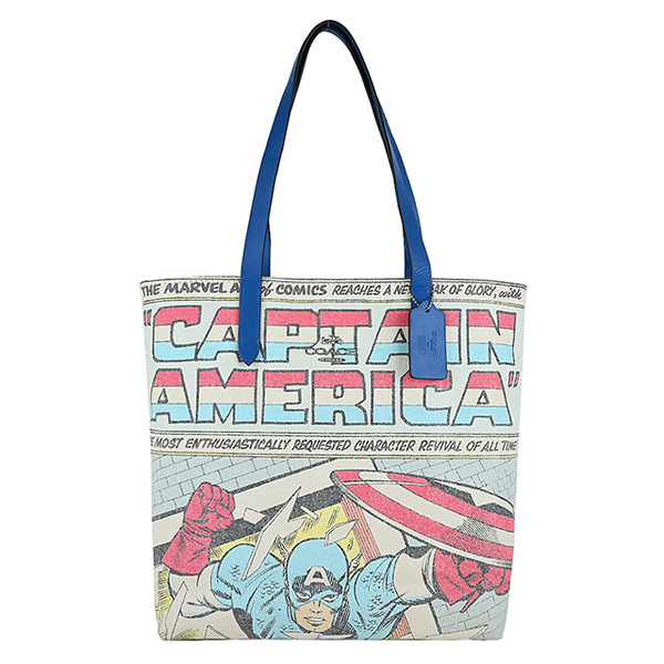 (coach)COACH MARVEL Co-branded Captain America Comic Tote Bag (Blue x White)