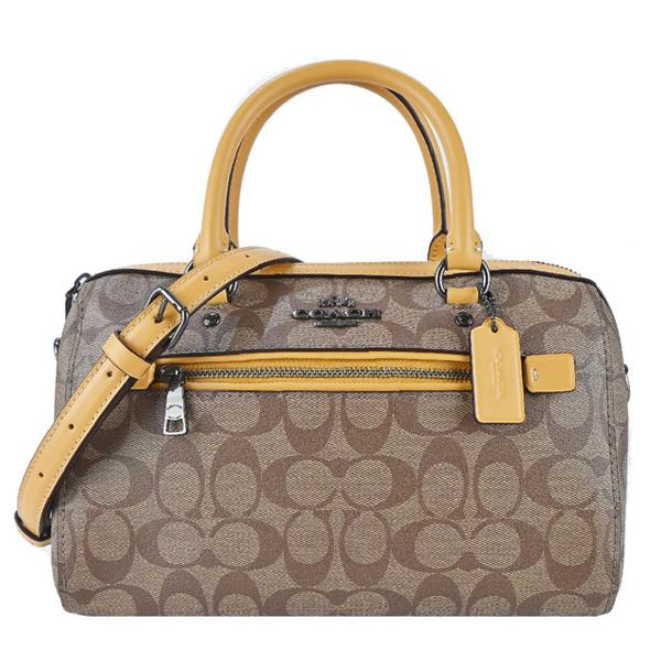 (coach)COACH Carriage Jacquard LOGO Front Pocket Crossbody/Dual Boston Bag (Khaki Honey Yellow)