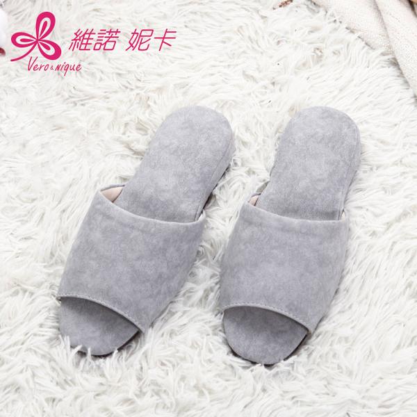 日式風尚室內皮拖鞋-灰