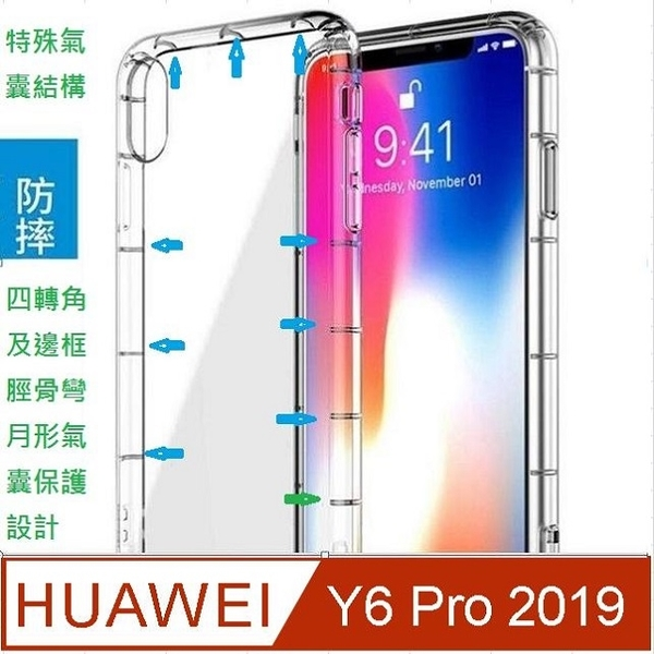 HUAWEI Y6 Pro 2019 four peripheral meniscus type airbag cushion anti-fall mobile phone case protective shell
