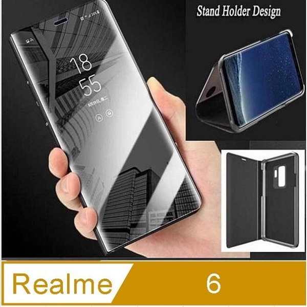 Realme 6 Electroplated Mirror Flip Vertical Stand Protective Case Cover (Black)