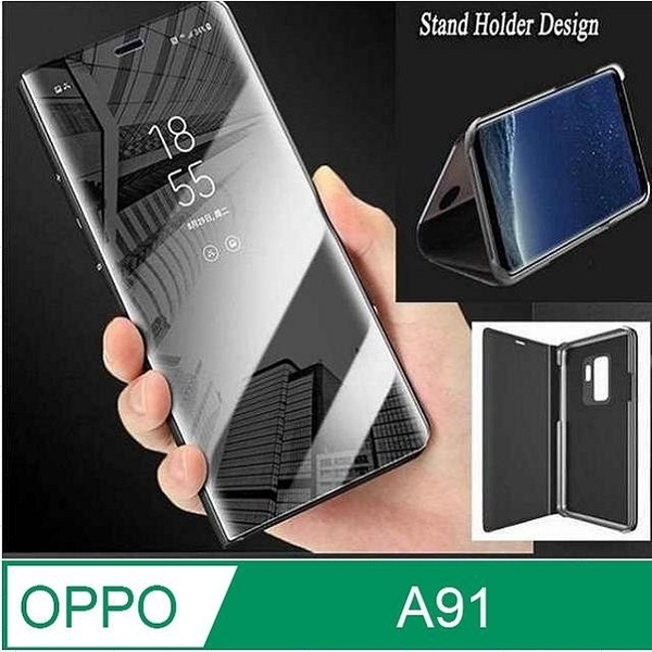 OPPO A91 Electroplated Mirror Flip Vertical Stand Protective Case Cover (Black)