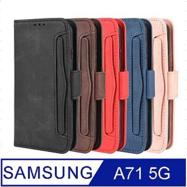 SAMSUNG Galaxy A71 5G Portable Removable Card Case Phone Case Protective Case Cover (Blue)