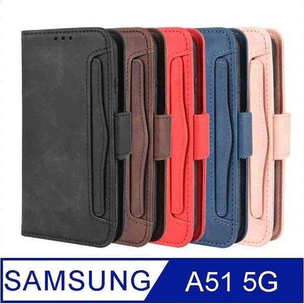 SAMSUNG Galaxy A51 5G Portable Removable Card Case Phone Case Protective Case Cover (Blue)