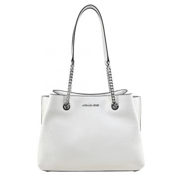 (MICHAEL KORS)MICHAEL KORS Leather Double Layer Gold Chain Shoulder Bag-Large/White