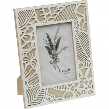 VERSA Herbal Carved Wood Frame (White 4x6 inch)