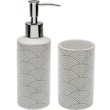 VERSA 洗手乳罐+牙刷杯(浪紋灰250ml)