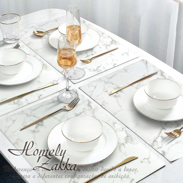 (homelyzakka)[Homely Zakka] Nordic minimalist ins wind marble grain leather placemat/anti-scalding heat insulation pad/table mat