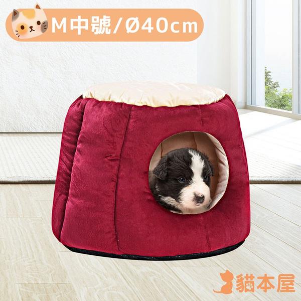 Cat House Pumpkin Shaped Thick and Warm Pet Nest (M Medium)-Burgundy