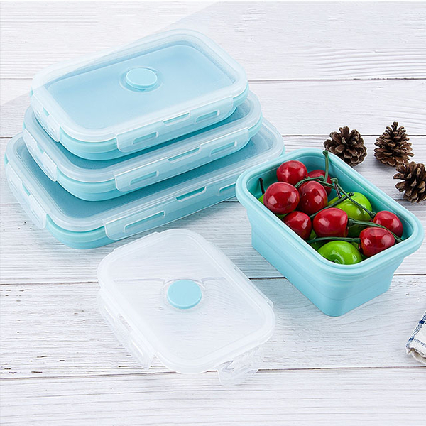 [Small lunch box store] Peace of mind silicone lunch box can be folded for good storage folding lunch box microwave lunch box student lunch box lunch