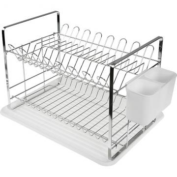 (VERSA)VERSA drip tray + double-layer tableware dish drain rack (white)