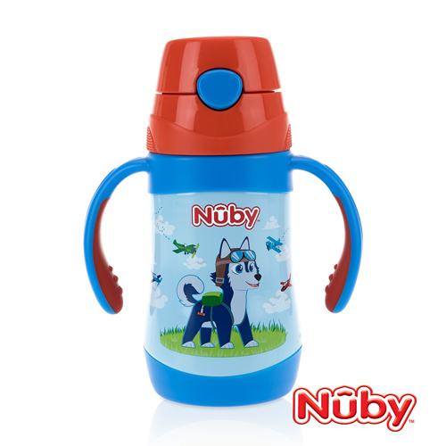 (Nuby)Nuby stainless steel vacuum learning cup (fine straw) - pilot dog _280ml