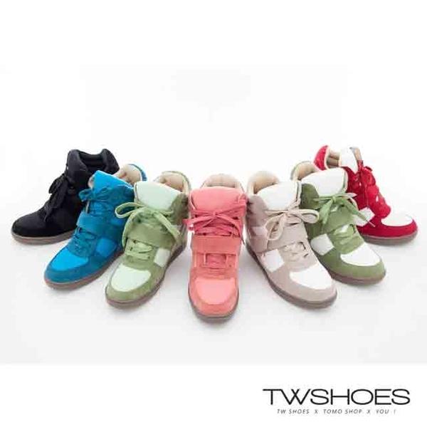 (TW Shoes)Trend velvet stitching multi-color devil felt high sneakers-7 colors [K124F1527]