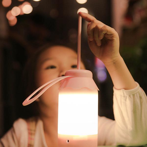 USB充電可愛調光造型小夜燈-櫻花粉(暖光)