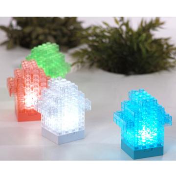 DIY building blocks hut LED lights (red white)