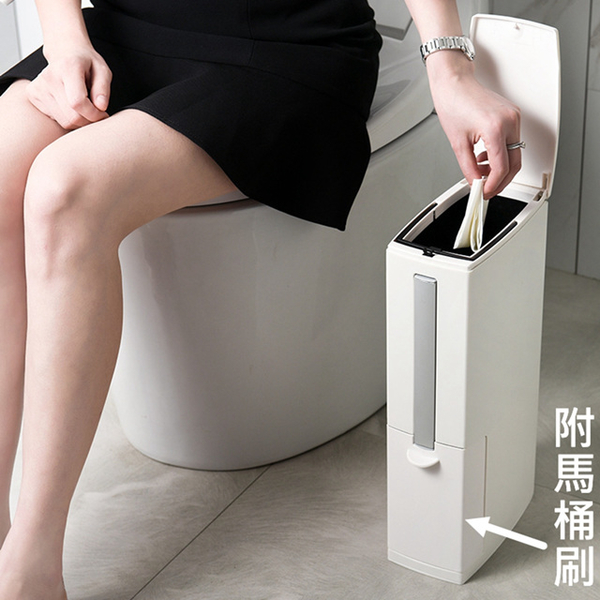 (KOTI)[KOTI Good Life] Push-type double-layer ultra-thin narrow trash can with toilet brush