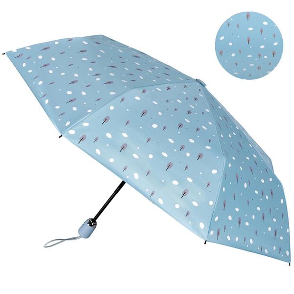 【2mm】100%遮光 趣味森林 黑膠降溫自動開收傘(雲朵藍)