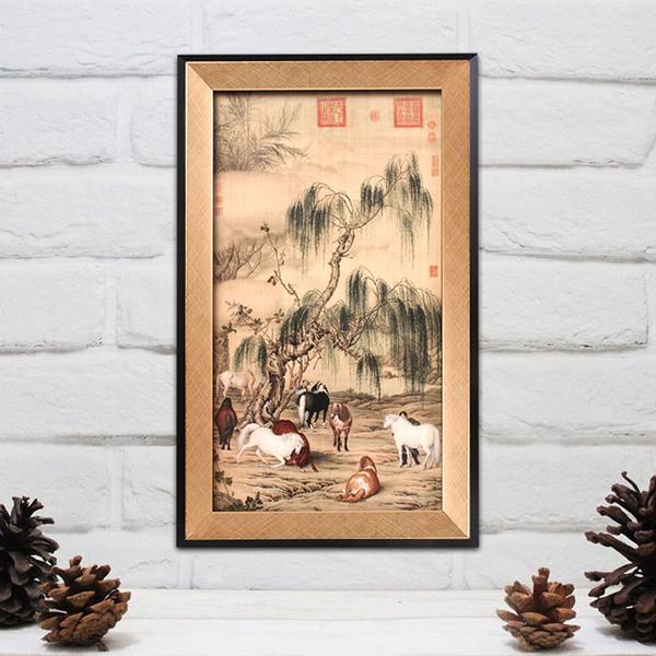 故宮精品 藝術框畫-八駿圖