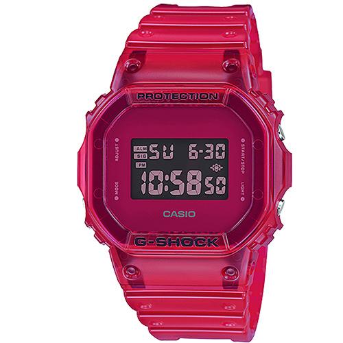 (casio)[CASIO] G-SHOCK Classic Personality Multicolor Transparent Case Digital Casual Watch-Red (DW-5600SB-4)