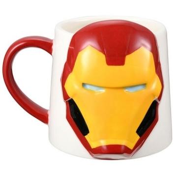 小禮堂 漫威英雄Marvel鋼鐵人 造型陶瓷馬克杯《紅白.大臉》300ml.茶杯.咖啡杯