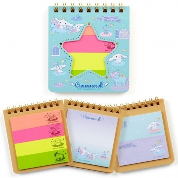 "Small Auditorium Big-eared Dog Japanese-made coil self-adhesive label book ""Blue and Green Star Window"" sticky note. N times of stickers. Bookmarks"