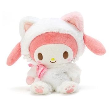 小禮堂 美樂蒂 沙包絨毛玩偶娃娃《S.白》沙包玩具.擺飾.變裝貓咪