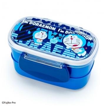 小禮堂 哆啦A夢 日製塑膠雙面扣雙層便當盒《藍.文字》保鮮盒.餐盒