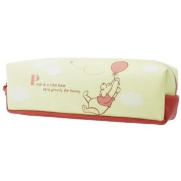 小禮堂 迪士尼 小熊維尼 皮質拉鍊筆袋《黃橘.拉氣球》化妝包.收納包.鉛筆盒