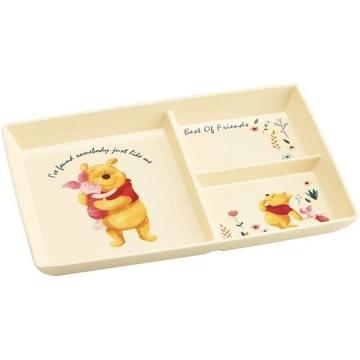 小禮堂 迪士尼 小熊維尼 方形三格美耐皿盤 三格餐盤 兒童餐盤 塑膠盤 (黃 抱抱)