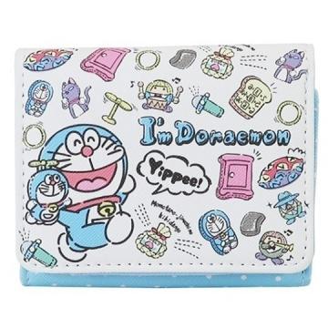小禮堂 哆啦A夢 皮質扣式短夾 短皮夾 零錢包 (藍白 玩偶)