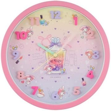 小禮堂 美樂蒂 連續秒針圓形壁掛鐘 壁鐘 時鐘 (粉黃 立體數字)