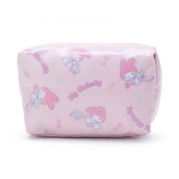 小禮堂 美樂蒂 方形防水化妝包 盥洗包 小物包 隨身收納包 (粉紫 滿版)