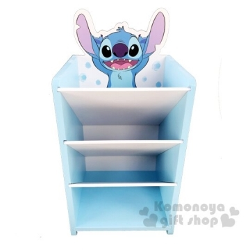小禮堂 迪士尼 史迪奇 桌上型木製直式四層斜口收納盒《藍》置物盒.筆筒.刷具筒